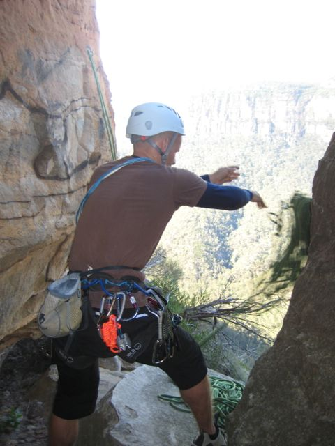 Over the edge on the rap into Mirroball (or so we thought), Pierces Pass, Blue Mountains, NSW