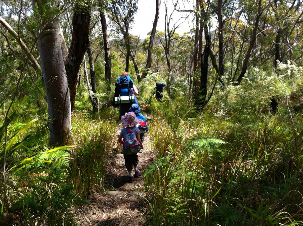 Happy campers at the start of the walk to Kingfisher Pool campsite, Heathcote NP