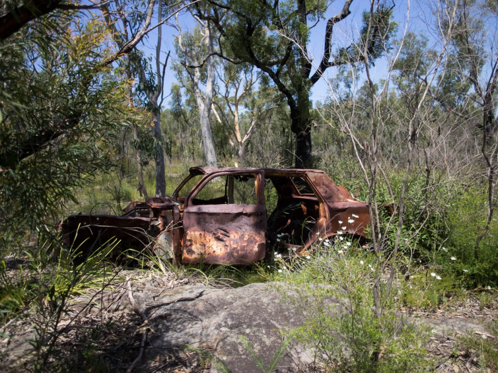 Dumped car, Yeramba Lagoon, Georges River NP