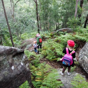 Marilla, Charlotte and Jane on the descent to Cattle Duffers Flat, Ridge Walk, Georges River NP