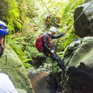Garry on the final abseil above a beautiful deep pool, Lower Bowens Creek North Canyon, Blue Mountains National Park