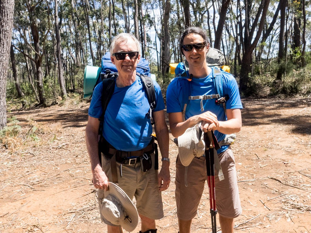 Family portrait: it was a 30+ degree day when Dad and I set from the Sassafras car park, Budawang Range, Morton NP