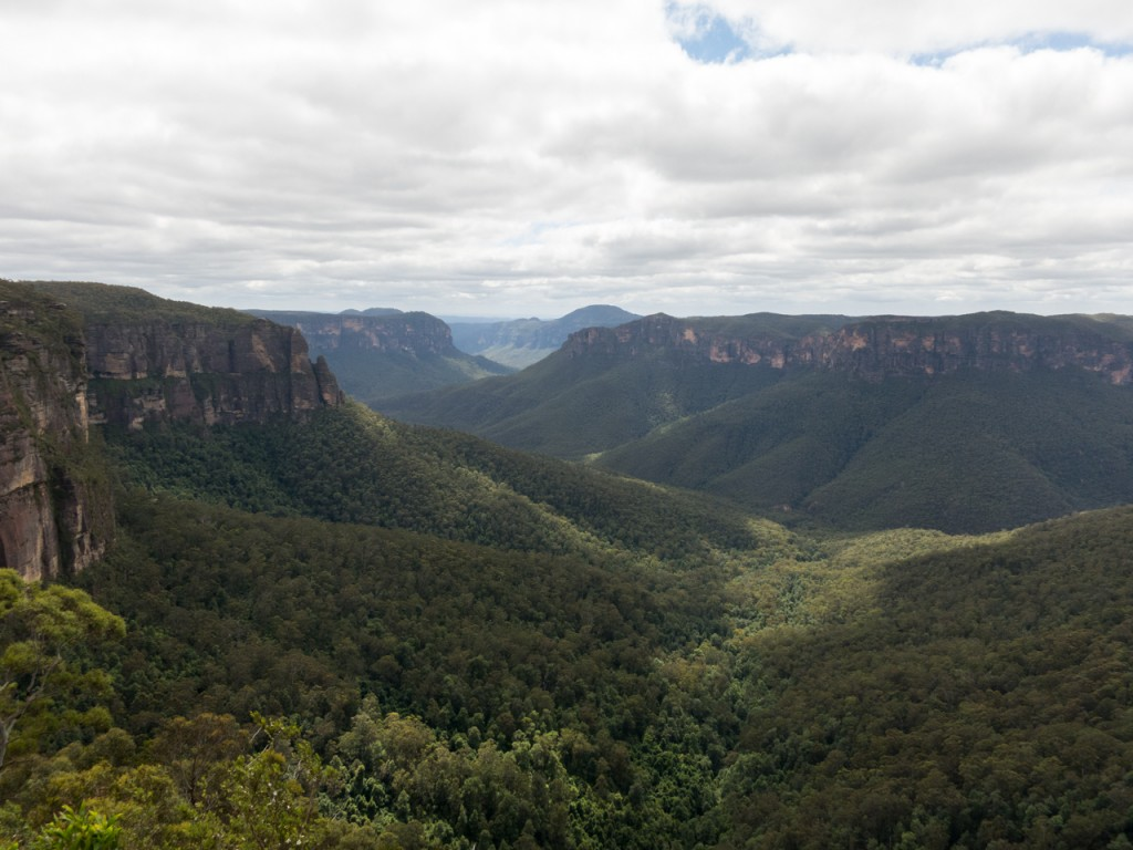 Looking north from Lovett's Leap, with Mount Banks in the distance