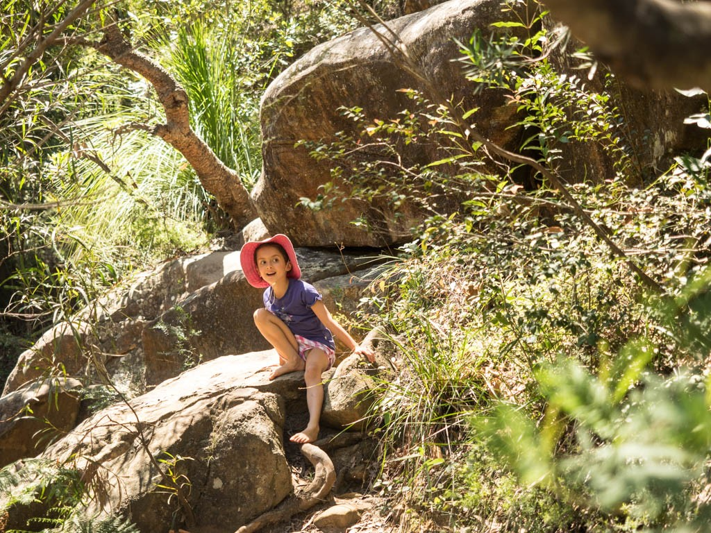 The bush along the banks of Glenbrook Creek at Jellybean Pool is also a great spot for small adventures