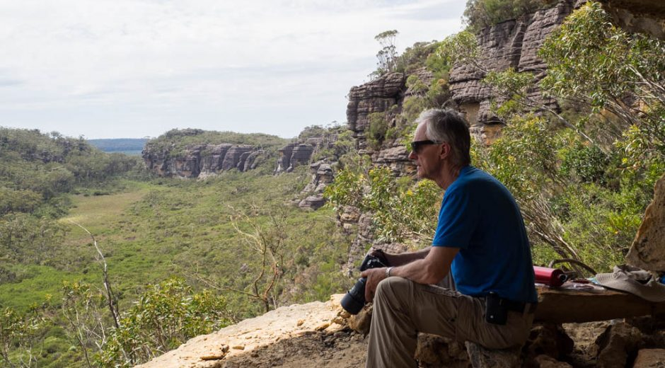 Dad looks out over the almost-sacred Hidden Valley from Dark Brothers Cave