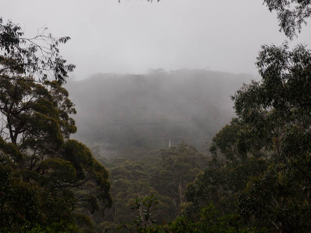 Mt Quilty - shrouded by rain mist on our return leg
