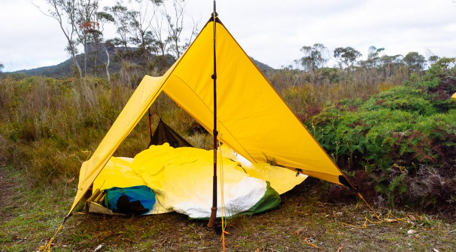Tarp and shelter with trekking poles in bush