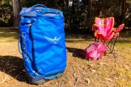 Osprey Transporter 90 Wheeled Duffel in campground